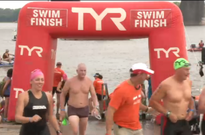 Screenshot from the swim finish video. That's me in the left corner!