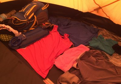 I laid my clothes out in my tent every day either drying or as I planned the layers needed every day.